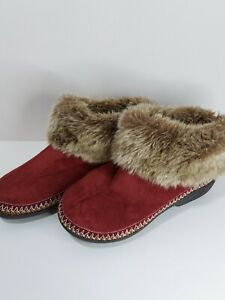 Isotoner Slipper Boots Size 8.5-9 UK 7 Faux Fur & Burgundy Red Suede Memory Foam
