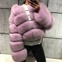 Women's 100% Real Full Pelt Fox Fur Coat Short Cropped Top Jacket Winter Outwear