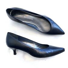 Stuart Weitzman 6 M Black Leather Cindy 45 Pumps Point Toe Low Heels Classic