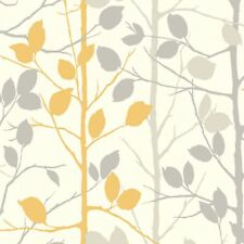 Arthouse Woodland Wallpaper - Grey and Yellow