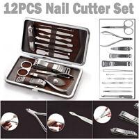 12 Pcs Manicure Pedicure Nail Care Set Cutter Cuticle Clippers Scissors Kit Case