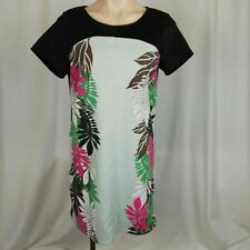 Vero Moda Women's Shift Dress Size L  Black Blue Palm Leaf Print Short Sleeve