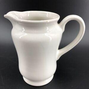 """Vintage White Pitcher Farmhouse Home Decor Vase Medium Sized 6 1/4"""" X 7"""""""