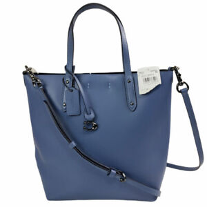 COACH 78217 Refined Calf Leather Central Shopper Tote Blue