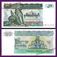 BANK  NOTE -UNC CURRENCY  BURMA MYANMAR 20 KYATS 1994 UNC  -MONEY- FREE SHIPPING