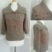 Size 12 Chunky Knit Cardigan Natural Light Brown 3/4 Sleeve Shawl Collar Boxy