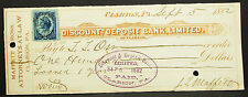 Us Check discount deposit banco Clarion paid Inter. Rev. 1882 EE. UU. cheque (h-8156
