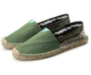 Fashion Ethnic Canvas Stitching Slip On Espadrille Loafers Mens Casual Shoes MON