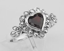 Unique Heart Shaped Garnet Colored Cz Ring - Sterling Silver Size 6