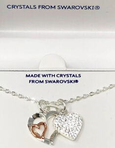 NIB Brilliance Crystals From Swarovski Double Heart Charms Friendship Necklace