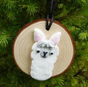 1 x Llama Wood Christmas tree Decoration, Xmas, Gift Handmade, Alpaca, Cute, NEW