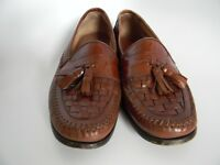 Bass Bellagio Mens Brown Leather Woven Tassel Moc Loafers Shoes Size 11 M 2Z95