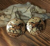 Vintage Copper Horse Earrings Autumn Wild Horse Mustang Christmas Gift