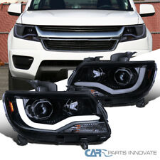 For 15-20 Chevy Colorado Glossy Black Projector Headlights w/ LED DRL Left+Right