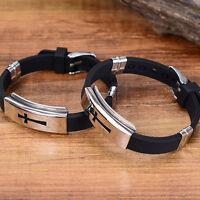 Men Silver Cross Stainless Steel Black Rubber Bracelet Bangle Wristband ewr