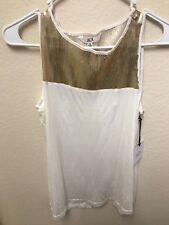 BB Dakota Jack Gold Sequin White Cutout Tank Top S NWT
