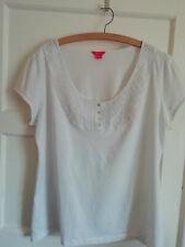 JH476) Ladies white top size 22 t-shirt Monsoon w pretty detail around neck