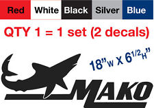 "2 Mako Decal Stickers, 18""w x 6.5""h, Buy qty2 sets.. get qty1 set FREE !"