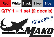 "2 Mako Decal Stickers, 18""w x 6.5""h, Buy qty2 sets.. get qty1 set FREE !"