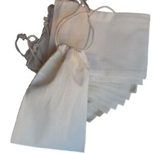 12 kleine Baumwoll-Beutel mit Zugband 15x10cm weiß sauerstoffgebleicht