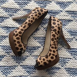 Enzo Angiolini Easully Leopard Pony Hair Peep Toe Platform Pump 9.5 M Leather