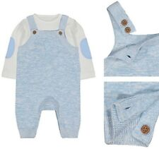 Bnwt Mothercare Baby Boys Blue Cream Knitted Long Sleeve Bodysuit Dungarees Set