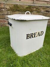 More details for large vintage mid century retro white enamel 1950's bread bin shabby chic