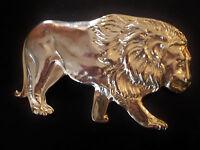 gros ornement, boucle de ceinture vintage 80 lion doré - retro belt buckle