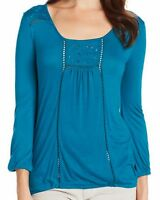 New LUCKY BRAND Women's Blue Knit Cailey Cut Out 3/4 Sleeve Scoop Top Shirt $59