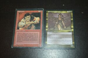 Lot 2 Cards Magic Invoquer Ogres Grey 1994 & Legend Selenia Angel Black 1997