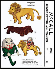 HUMPTY DUMPTY LION DACHSHND Pattern Toy Stuffed Animal Fabric Sewing 1223 McCall