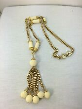 Juicy Couture Gold Plated/ White Bead Fringe Tassel Long Necklace  EUC