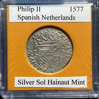 1577 Spanish Netherlands, SILVER Sol, Hainaut Mint (57975)