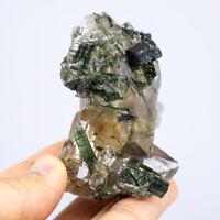 M78 NATURAL Tourmaline Skeletal Crystal Clear Quartz Cluster Specimen RAW Gem