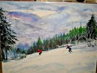 Oil Painting Skiers in Winter on Mountains Landscape With Frame - Listed Artist