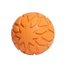Rosewood Cyber Rubber Tough Rubber Squeaky Dog Ball | Chew Resistant Orange