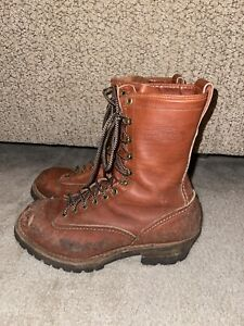 """Wesco Highliner 10"""" Leather Lineman Brown Lace-to-Toe Work Boots Size 9.5E"""