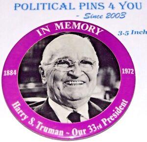 1972 HARRY TRUMAN MEMORIAM BUTTON pin pinback memorial campaign badge political