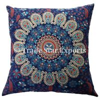 Set Of 5 Pcs Indian Square Cushion Cover 18X18 Mandala Sofa Throw Pillow Cases