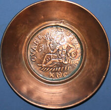 VINTAGE SMALL HAND MADE ORNATE COPPER WALL DECOR PLATE