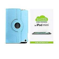 Snazzos iPad Mini Leather Case w/ Rotating Stand and HD Screen Protector Lt.Blue