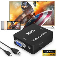 New Ultra-HD 1920x1080P @65hz VGA to HDMI Converter Adapter For DVD/PC/Laptop US