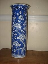 1xstunning chinese 19th century qing period blue white large<35cm> brush pot