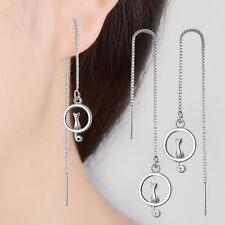Women's Ladies Solid 925 Sterling Silver Cute Kat Tassel Stud Dangle Earrings