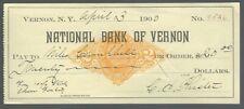 Scheck / Cheques USA - National Bank of Vernon - !! 1900  !!