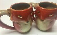 SET OF 2 GIBSON HOME RED FOX GLAZED STONEWARE CERAMIC COFFEE TEA MUGS GREAT GIFT