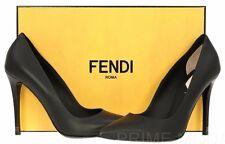 NEW FENDI FLAMINGO BLACK MATTE LEATHER PUMPS HEELS CLASSIC SHOES 40/US 10