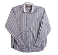 Bugatchi Uomo Mens Button Front Size XL Long Sleeve Striped Dress Shirt Blue