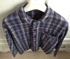 M&S Blue 100% Cotton Pajama Check Shirt Bed Nightwear Long Sleeve Men's Medium