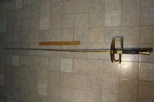 ORIGINAL VINTAGE FENCING SWORD CARVED HANDLE PAINTED BRASS DESIGN